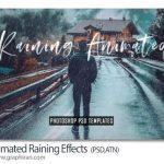 اکشن فتوشاپ انیمیشن بارش باران Animated Raining Effects Photoshop