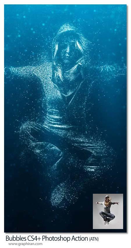 اکشن فتوشاپ تبدیل عکس به حباب های آب