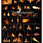 دانلود پک ۵۶ عکس پوششی شعله آتش Fire Photo Overlays
