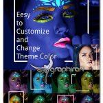 اکشن فتوشاپ آرایش بلک لایت چهره Neo UV Makeup Black Light PS Action