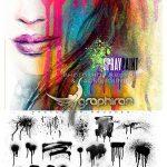 دانلود پک ۱۸۰ براش فتوشاپ اسپری رنگ Ron's Spray Paint