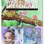 اکشن فتوشاپ نقاشی خطی آبرنگی Watercolor Sketch Art Photoshop Action