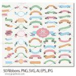 ۵۰ طرح روبان در فرمت های گرافیکی متنوع Ribbons. PNG, SVG, AI, EPS, JPG