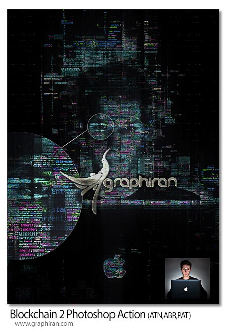 اکشن فتوشاپ افکت عکس با کدهای کامپیوتری