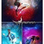 دانلود اکشن فتوشاپ نورهای کهکشان Galaxian Photoshop Action