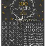 دانلود ۱۰۰ المان گرافیکی حاشیه تزئینی و دسته گل Wreaths, Laurels & Borders