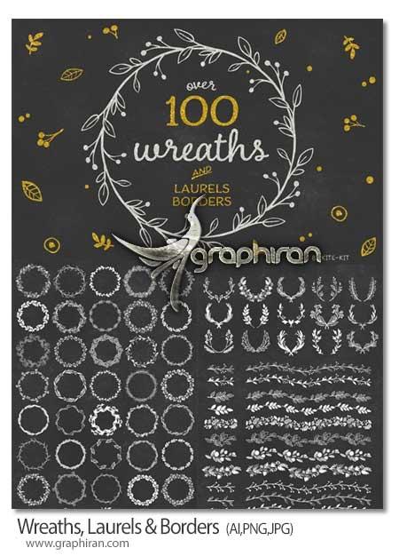 مجموعه 100 المان گرافیکی حاشیه تزئینی و دسته گل