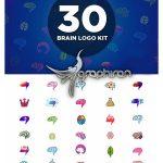 دانلود 30 لوگوی آماده با شکل مغز وکتور لایه باز Brain Logo Kit