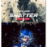 اکشن فتوشاپ انفجار و تیکه تیکه شدن Explode And Shatter Photoshop Action