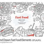 دانلود تصاویر وکتور خطی فست فود Hand Drawn Fast Food Elements