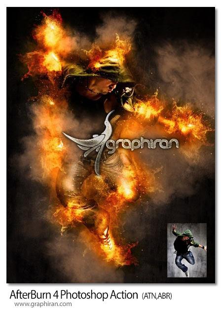 اکشن فتوشاپ آتش گرفتن سوژه در عکس