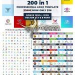 دانلود ۲۰۰ آرم و لوگوی متنوع وکتور Logo Template Mega Bundle 200 In 1