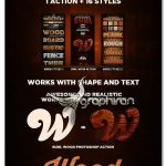 استایل ها و اکشن فتوشاپ افکت چوب واقعی Wood Action & Styles Bundle