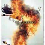 اکشن فتوشاپ ایجاد شعله های آتش Fire Photoshop Action V.3