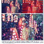 اکشن انیمیشن ریختن کاغذ رنگی Gif Animated Confetti Glitter Effect PS Action