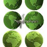 دانلود 6 عکس شاتراستوک کره زمین سبز رنگ Green Earth Stock Photo