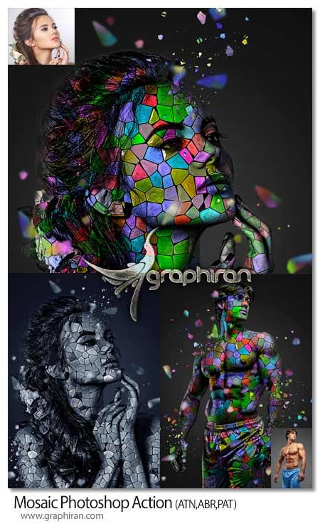 اکشن فتوشاپ ساخت موزاییک های رنگی