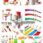 دانلود تصاویر وکتور نقاشی خانه و سطل رنگ و قلمو در فرمت EPS