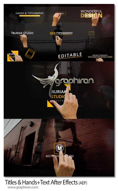 پروژه آماده افتر افکت نمایش متن با دست انسان