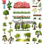 دانلود طرح های وکتور لایه باز درخت، گل و گیاهان سرسبز فایل EPS