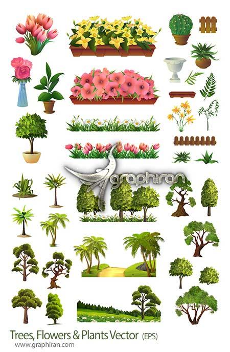 دانلود طرح های وکتور لایه باز درخت، گل و گیاهان