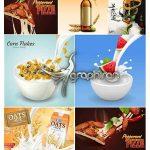دانلود مجموعه ۷ طرح وکتور پوستر تبلیغاتی محصولات غذایی مختلف