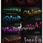 اکشن های فتوشاپ افکت متن فلز رنگی سه بعدی ۳D Color Metal PS Actions