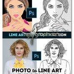 اکشن فتوشاپ جداسازی و حذف بکگراند Line Art Photoshop Action