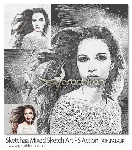 اکشن فتوشاپ نقاشی خطی و هنری