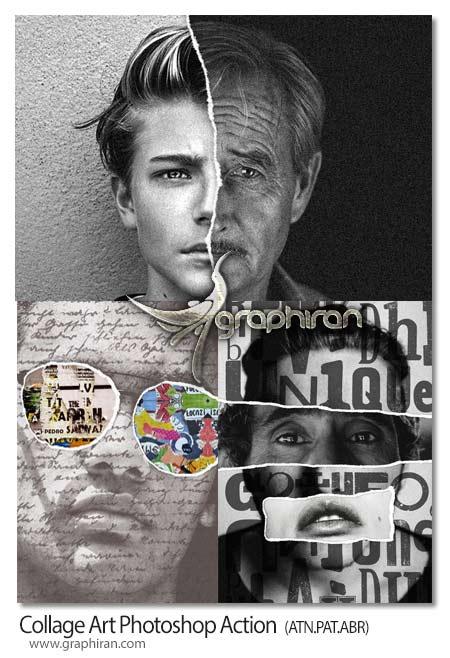 اکشن فتوشاپ هنر کلاژ چند عکس