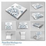 دانلود ۹ ماک آپ جعبه پیتزا Pizza Box Mockup