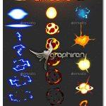 دانلود مجموعه طرح های لایه باز انفجار و الکتریسیته Sprite Effects