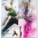 اکشن فتوشاپ انتشار ذرات ۳ بعدی ۳D Dispersion Photoshop Action