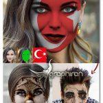 اکشن فتوشاپ قرار دادن عکس روی صورت Face Paint Action Wrapped Style