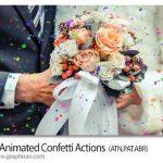 اکشن فتوشاپ انیمیشن ریختن کاغذ رنگی Gif Animated Confetti Actions