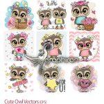 دانلود مجموعه تصاویر وکتور جغدهای بامزه و دخترانه Cute Owl Vectors