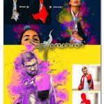 اکشن فتوشاپ افکت جوهر رنگارنگ Ink Manipulation Photoshop Action 2