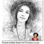 اکشن فتوشاپ پرتره خط خطی Portrait Scribble Sketch Art Photoshop Action