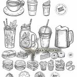 دانلود تصاویر خطی فست فود کیک و شیرینی و قهوه PSD EPS AI