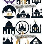 دانلود مجموعه تصاویر وکتور مسجد و گلدسته Mosque Vector Illustration