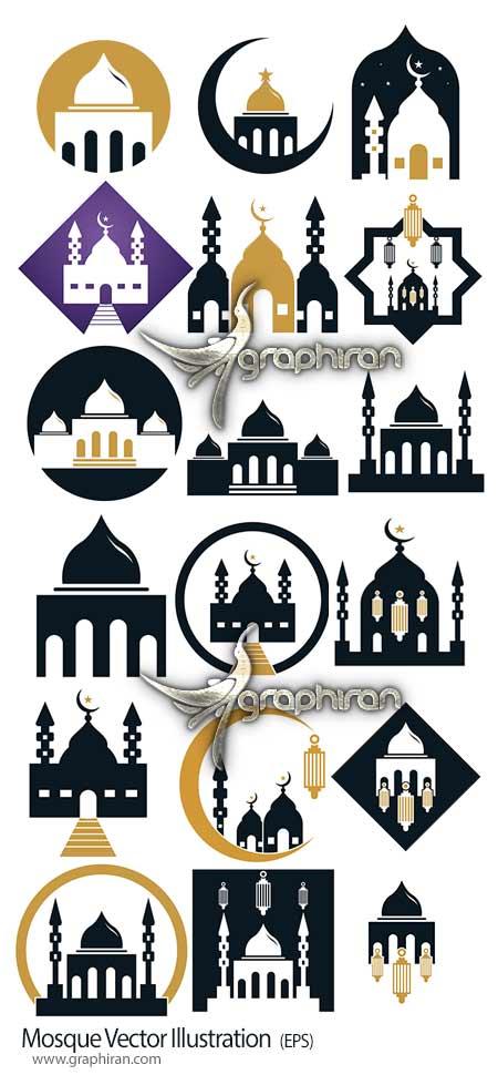 دانلود مجموعه تصاویر وکتور مسجد و گلدسته