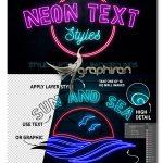 استایل و اکشن فتوشاپ افکت نئون Neon Text Layer Styles & Extras