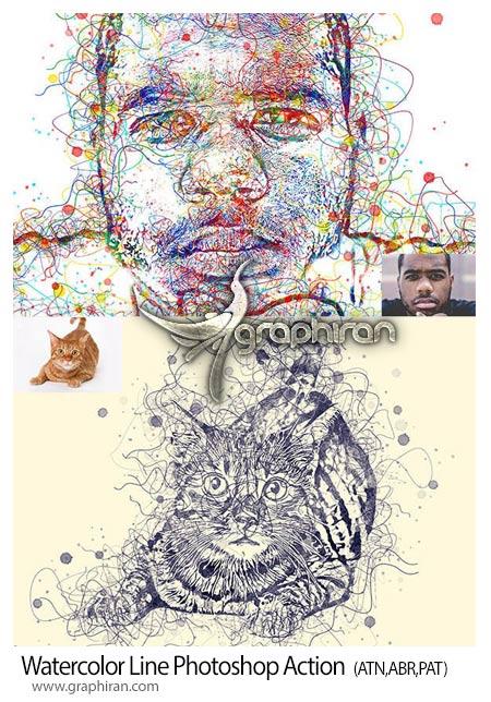 اکشن فتوشاپ افکت نقاشی خطوط آبرنگ