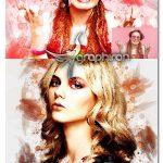 اکشن فتوشاپ افکت میکس آبرنگ Abstract Mixed Watercolor Photoshop Action