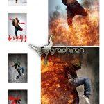 اکشن فتوشاپ ایجد افکت آتش زبانه دار Fire Photoshop Action