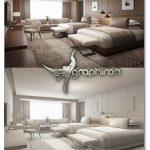دانلود مدل 3 بعدی اتاق خواب هتل Hotel Guest Room 3D Model