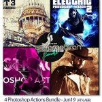 دانلود ۴ اکشن جذاب فتوشاپ Photoshop Actions Bundle – Jun19