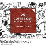 دانلود تصاویر وکتور خطی قهوه و چای Coffee Doodle Vector
