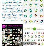 دانلود مجموعه وکتور بک گراند و لوگوهای انتزاعی با طرح موج های رنگی