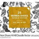 دانلود تصاویر وکتور طرح های خطی کفش زنانه Fashion Shoes Hi Hill Doodle Vector